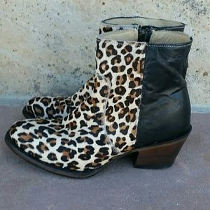 New Stetson cheetah short bootie boots leather